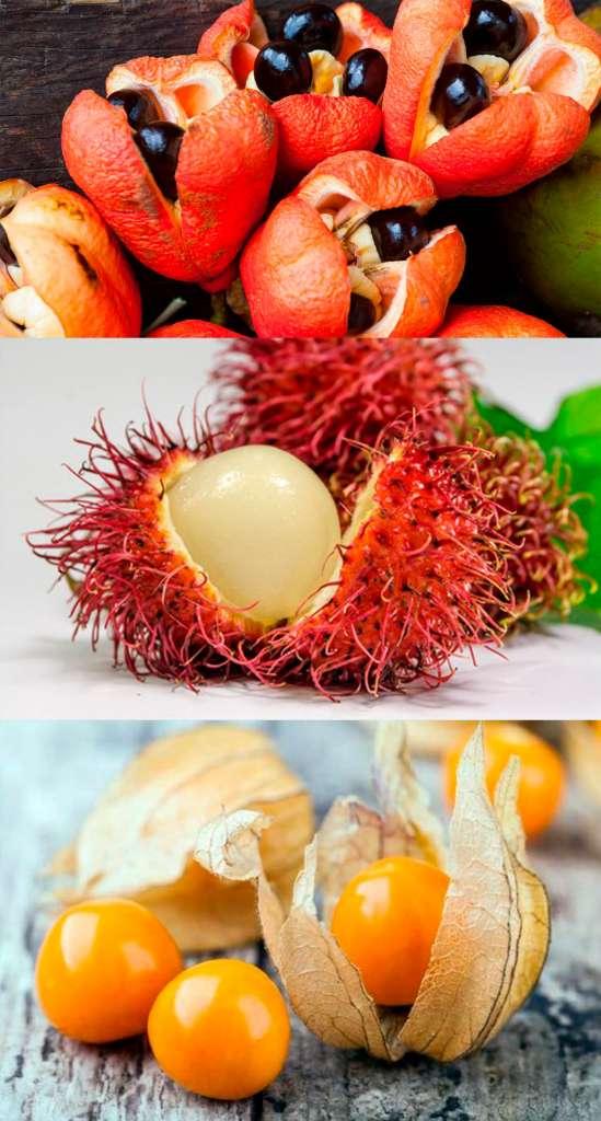 Аки, рамбутан, физалис - список необычных фруктов.