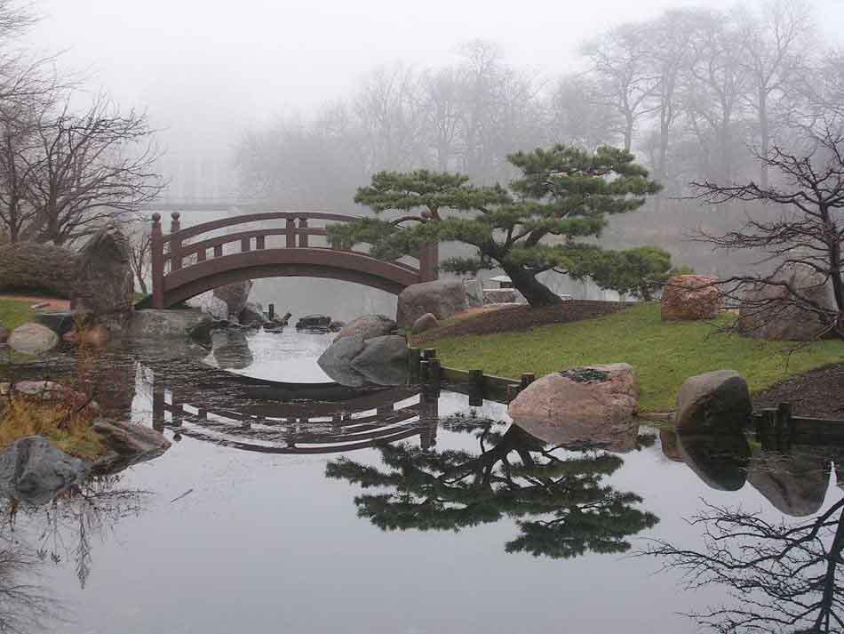 Полукруглый мост для японского оформления сада в тумане.